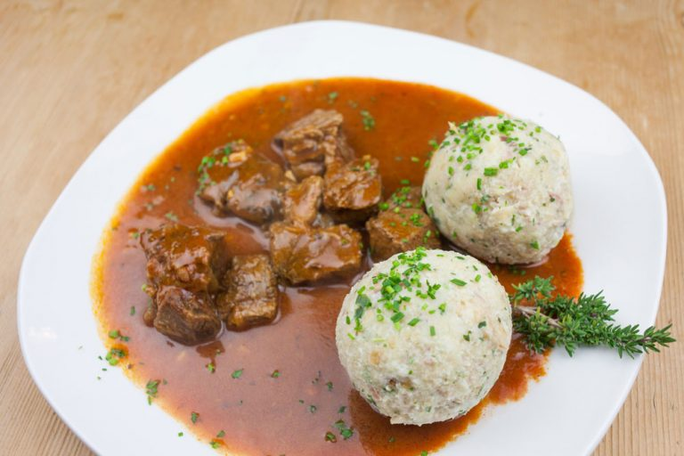 South Tyrolean bacon dumplings with goulash